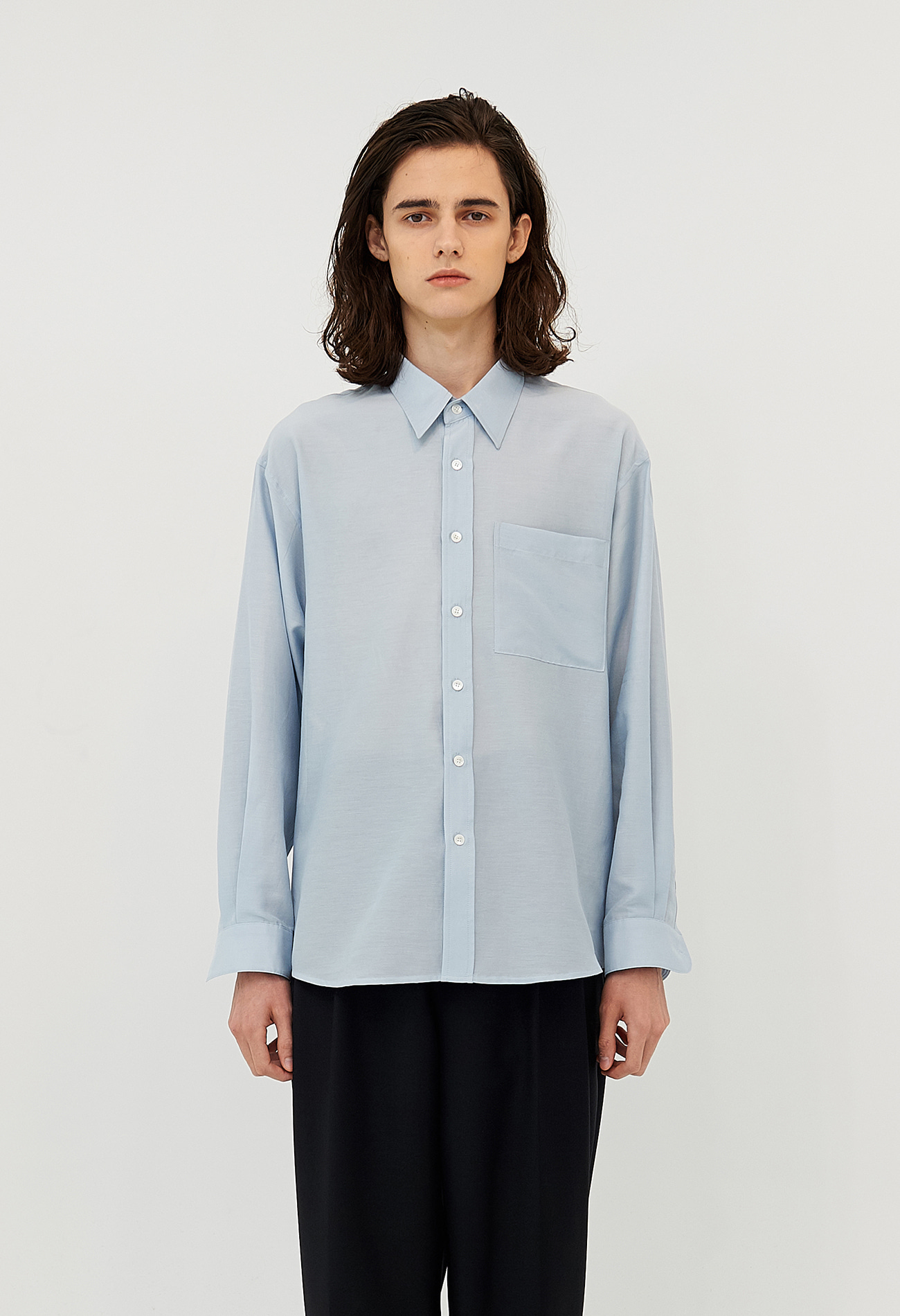 Classic cotton-silk shirt (Blue)