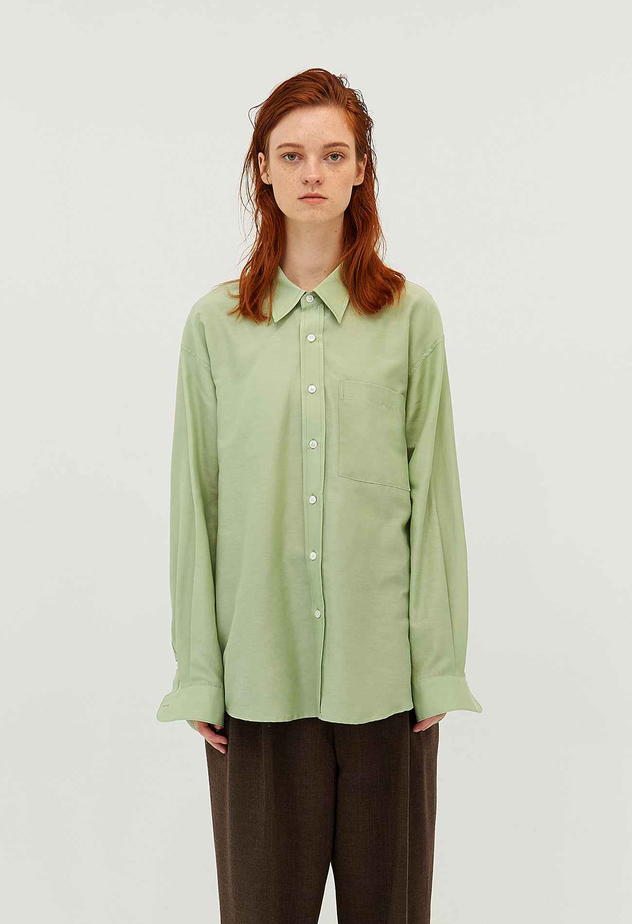 Classic cotton-silk shirt (Green)