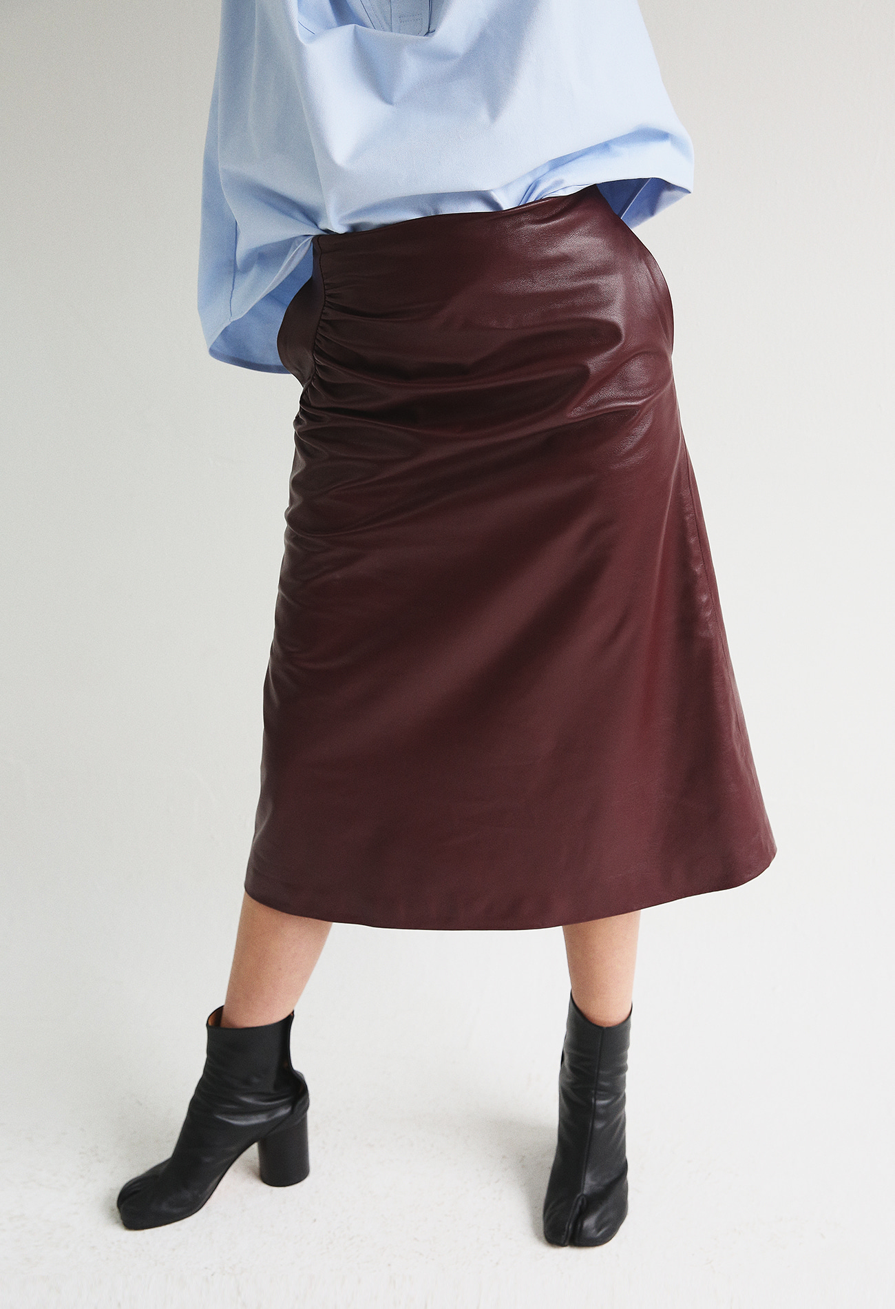 Shirring Skirt In Lambskin (Wine)